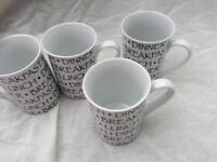 4 X white mugs