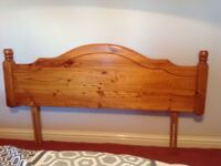 "Antique pine bedhead for double bed (4ft 6"")"