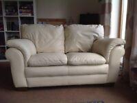 Cream leather 2 & 3 seater sofas