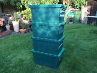 4 Heavy duty stacking storage crates, interlocking lids, moving house boxes.