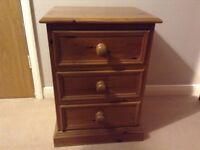 3 Drawer Oak Bedside Cabinet