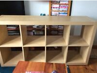 IKEA wooden storage unit with 4 cube boxes