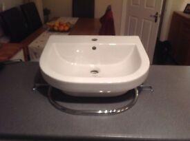 New Euro Mono 560 X 470 semi inset basin with optional integrated polished chrome towel rail