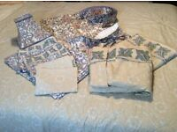 Complete set of bedroom soft furnishings. Including King Size Duvet set, Curtains, lampshade