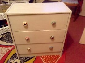 Chest of 3 drawers painted in gentle grey and clear waxed