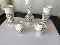 Lovely set of 5 bird pattern aynsley china.plus 1 aynsley vase for free.