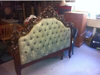 Beautiful antique Carved mahogany queen sized bedhead