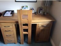 Solid Oak Computer Desk and matching Solid Oak Chair