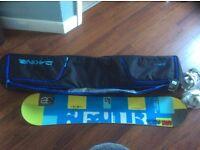 Salbaerg 154 snowboard + Raiden bindings + Dakine boardbag