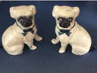 Pair of antique China pug dog ornaments