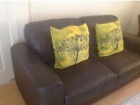 Lovely 2/3 Dark Brown Leather Sofa.... BARGAIN!!!!!!!