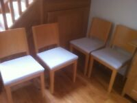 Set Of 6 Wooden dining Chairs With Upholstered Seat Cushions