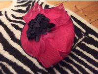Jacques vert fushia pink color hat with black flower