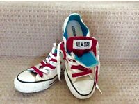 UNISEX CONVERSE RED AND BLUE ALL STAR DOUBLE TONGUE TRAINERS