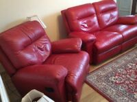 Cherry red leather sofa and armchair for sale recliners