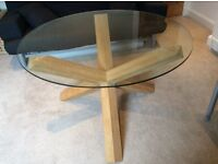 Circular a Glass & Oak Table with Four Oak Chairs