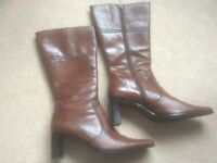 Ladies Tan Leather Boots Size 8