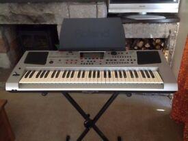 Roland EM55, 5-octave keyboard with 61 note velocity-sensitive keys.