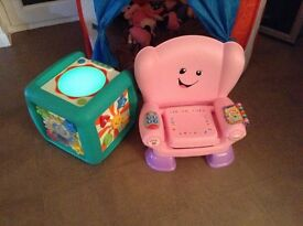 Music activity cube and pink musical chair for sale