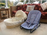 Moses basket and baby rocker £10 for both items