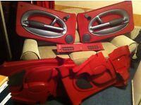 red bmw mono interior door cards
