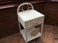 Shabby chic white wicker bedside / bathroom side table