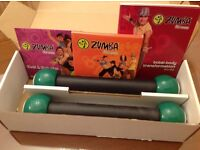 Zumba full fitness workout. 4 dvds, manual and weights
