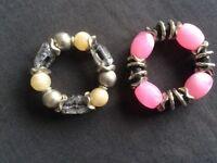 2 Large Bead Bracelets