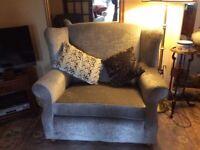 Grey Velvet Wing-back 2 Seater Sofa