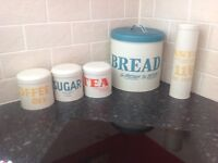 Tea coffee sugar and bread containers