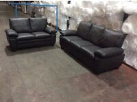 Brown Leather Texas 3 & 2 Seat Sofa Set - Ex Display - £399 Inducing Free Local Delivery - RRP £549!