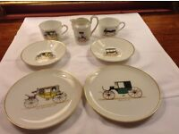 Limoges tea place setting for two, plus milk jug, vintage carriages design