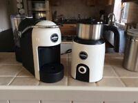 LAVAZZA JOLIE MODO MIO COFFEE MACHINE + LAVAZZA MODO MIO MILK WARMER/FROTHER.