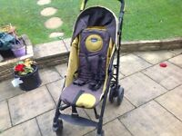 Chico Stroller/Pushchair Lime green& black, inclusive of soft liner ,cover & rain over.