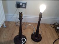 2 old wooden table lamp bases.