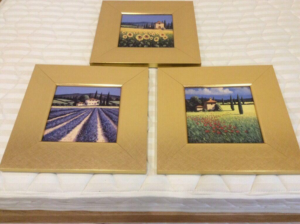 Set of 3 Tuscan inspired framed prints by David Short