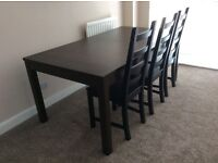 IKEA Bjursta Extendable Dining Table - Dark Brown, Excellent Overall Condition