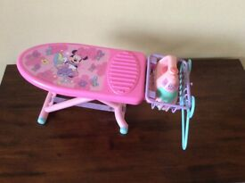 Disney ironing board with iron and 2 hangers - used