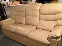 G-plan cream leather 3 piece suite with recliner chair
