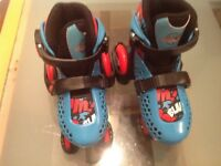 Skates, blue and pink quads, adjustable size 10-13