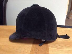 Horse Riding Hat Black Velvet Size 7 1/8 or 58 cm