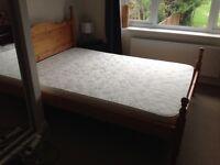 Double pine bed frame & foam mattress
