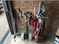 Golf Clubs, Trolley and Bag Stand