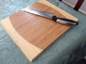 Solid wooden chopping board used once