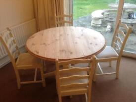 4 seater dining set pine with padded chairs