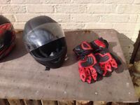 Motorcycle helmets and gloves size xl