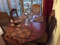 Antique COUNTRY Reclaimed Mahogany Tilt Top Oval Louis TABLE AND 6 X Antique COUNTRY CHAIRS