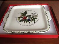 Portmeirion Square Handled Cake Plate Holly& Ivy pattern