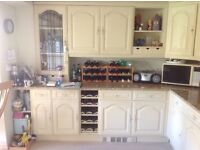 Reduced Price! Solid oak kitchen cupboard doors and drawer fronts, cooker, fridge & freezer
