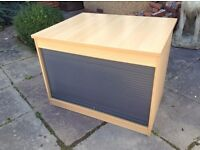 Roll top office storage cupboard. Excellent condition. 2 available.